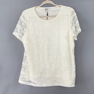 Calvin Klein Lace Layered Short Sleeve Blouse